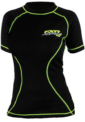 FXR Womens Black/Hi-Vis Snowmobile Vapour 20% Merino Short Sleeve Top Base Layer