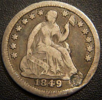 1849 Seated Liberty Half Dime - Not Quite a Full LIBERTY Shows on Shield - Holed