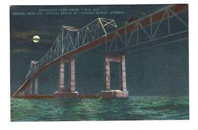 Sunshine Skyway Tampa Bay Florida Vintage Postcard Mar18
