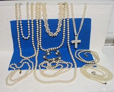 Large Lot Of Vintage Pearl Necklaces