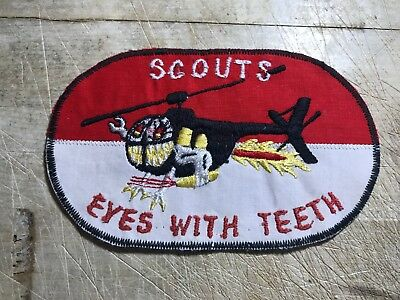 """1960/70s Vietnam? US ARMY PATCH-Air Cavalry SCOUTS """"Eyes with Teeth"""" ORIGINAL!"""