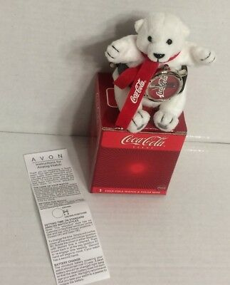 new 2002 AVON coca-cola polar bear and watch w/box and paperwork