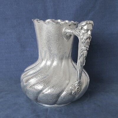Antique Reed & Barton Silver Plated Water And Wine Pitcher God Bacchus Handle