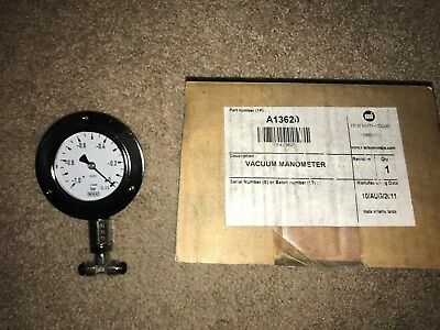 Markem Imaje A13620 -1.0 To 0 Bar Vacuum Gauge Manometer Ss W/ Ring For S4 S8