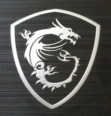 MSI GAMING G SERIES X DRAGONS STICKER Metal Silver Aufklebe logo - 26mm x 30mm