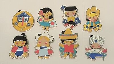 Disney Pins Mystery Pins It's A Small World Complete Set Of 8 Clock Cowboy