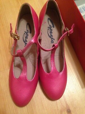 """Character Shoes Ladies Size 5 W Capezio T-Strap 2"""" Heel New Painted Pink"""