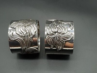 Vintage pair of Art Nouveau style silver metal napkin rings
