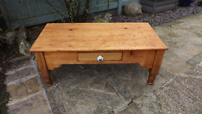 Shabby Chic Stripped Pine Coffee Table with drawer