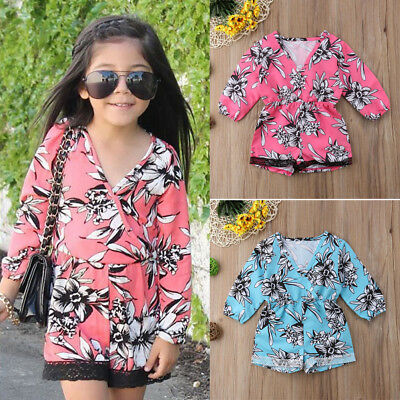 1f426fb3e6d US Toddler Kids Baby Girl Lace Flower Romper Jumpsuit Bodysuit Outfits  Clothes