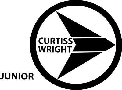 """Curtiss Wright Logo Aircraft Decals, Stickers 10""""wide By 7.3"""" High! 2 Stickers"""