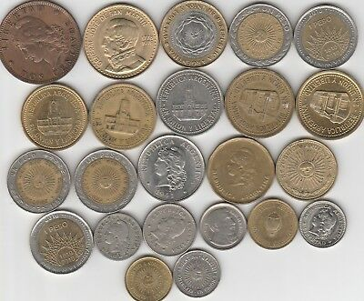 23 different world coins from ARGENTINA