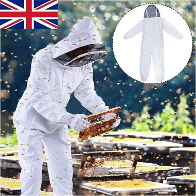 Professional Full Body White Beekeeping Beekeeper Protect Suit & Veil Hood XXL
