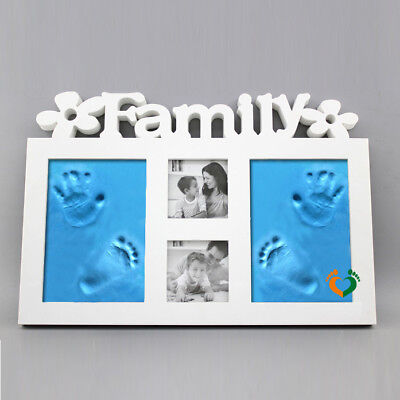 Baby Hand & Foot Print Clay Cast Kit &Photo Picture Frame Christening Gift RE