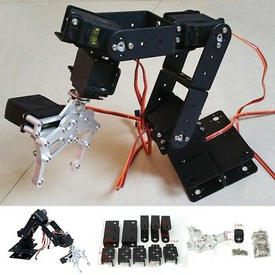 US 6 DOF Aluminium Mechanical Robotic Arm Clamp Claw Mount Robot Kit Black 47cm