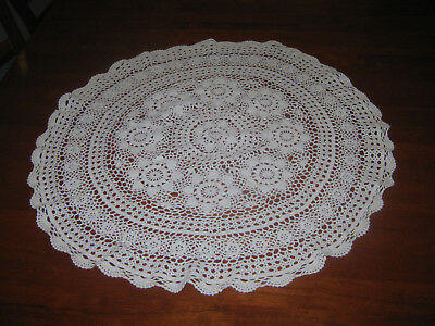 Small Vintage Crocheted Lace Tablecloth ~ Cotton ~ White ~ Round