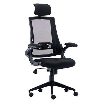 KADIRYA High Back Ergonomic Mesh Office Chair with Leather Seat,Flip-up Armrests
