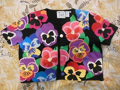 Colorfull Michael Simon New York Floral Flowers Womens Large Sweater Embroidered