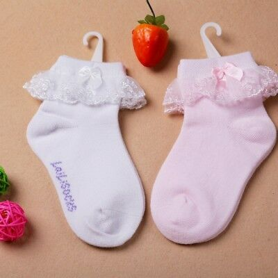 3-12Y Girl Kids Baby Soft Socks Ruffle Frilly Bowknot Non-slip Cotton Ankle Sock