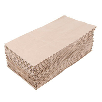 100 Pcs Kraft Paper Food Packing Bags Grease Resistant Takeout 15x9x27cm