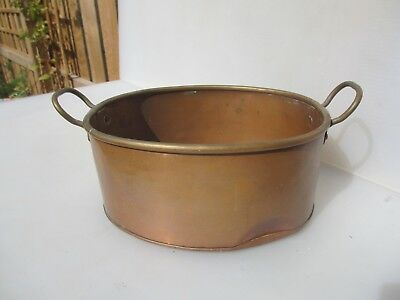 Antique Copper Jam Pan Fish Poacher Kettle Brass Handles Vintage Trough Planter