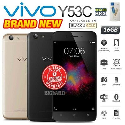 New & Sealed Factory Unlocked VIVO Y53C Black Gold Dual SIM Android Smartphone