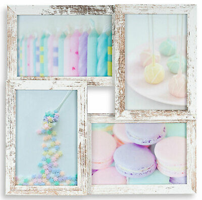Levandeo Marco Collage 4 Fotos 10x15 y 13x18 Shabby Chic MDF Madera Cristal