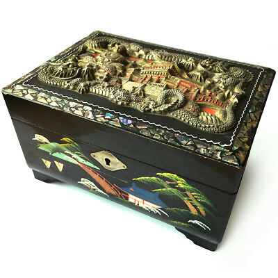 A Fine Vintage Japanese / Chinese Lacquered Musical Jewel Box