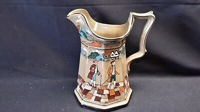 "Buffalo Pottery Deldare Ware Underglaze 1908 - Ye Olden Days - Signed 9"" Pitcher"