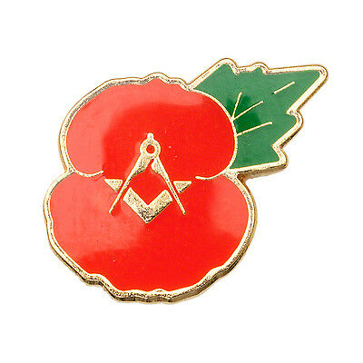 20 x Quality New Masonic Poppy Badge ( 20 badges ) Poppy enamel metal badges