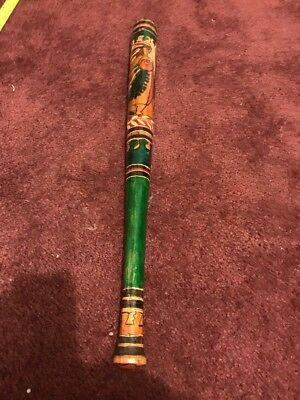 """Vintage 24"""" Carved Wood & Painted Pinata Mexican Game Baseball Bat Stick 1950s?"""