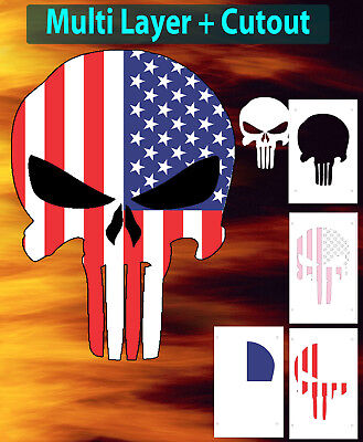 punisher skull american flag airbrush stencil multi layer template