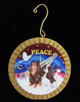 ORNAMENT by artist: Christmas Sunrise with Two Cavalier King Charles Spaniels