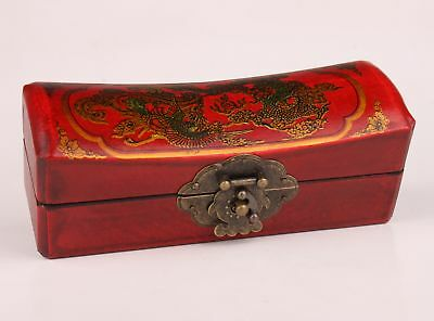 China Old Leather Jewelry Box Dragon Phoenix Red Dowry Festive Crafts