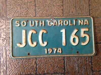 S C  License Plate ~ JCC 165 ~ 1974  White on green background