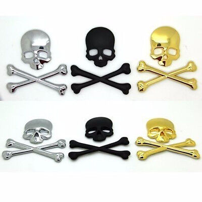 3D Chrome Skull Cross Bones Car Emblem Badge Logo Decals Skeleton Metal Stickers