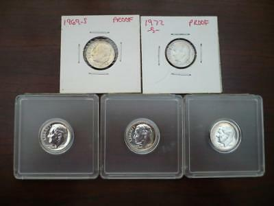 Lot of 5 Dime Proof Coins 1960, 1961, 1962, 1969, and 1972