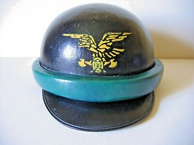ITALY, ITALIAN EARLY '50s FORESTAL GUARD MOTORCYCLE LEATHER HELMET