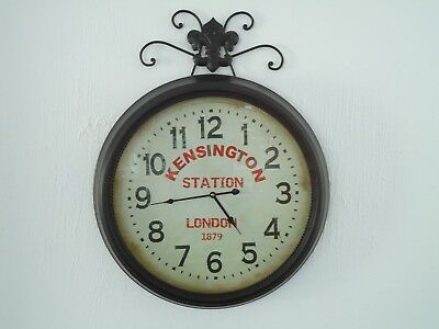 Very Large Kensington Train Station Clock Metal Contemporary / Very Nice Gift