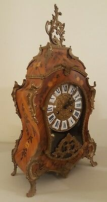 Vintage Franz Hermle Fancy German Boulle Inlaid Marquetry Mantel Shelf Clock 23""