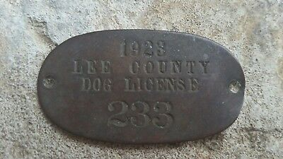 Vintage 1923 Lee County Illinois dog license tag