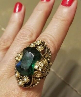 💓 AUTHENTIC💓 Vtg 1930s HUGE STONE Art Deco/NOUVEAU Costume Jewelry Ring  6.5-7