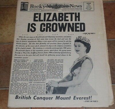 6/2/1953 Rocky Mountain News, Elizabeth Crowned and British Conquer Everest