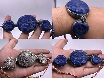 Beautiful Old Solid silver intaglio Lapis lazuli Stone wonderful Unique bracelet