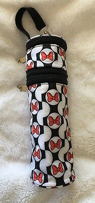 DISNEY BABY Minnie Bows Bottle Bag Cooler EUC Zippered Pockets With Strap