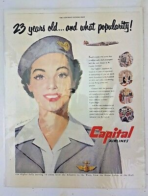 1950 CAPITAL AIRLINES STEWARDESS FLIGHT ATTENDANT WHAT POPULARITY AD FREE Ship