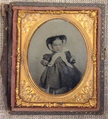 Daguerreotypeof Sweet Baby With Bonnet Sitting In Chair 1850 Sixth Plate Tinted