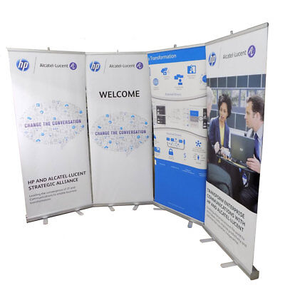 """Lot of 4 Aluminum 34"""" x 84"""" Banner Stand Trade Show Display Retractable Roll-up"""