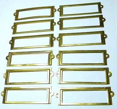 Set X12 Brass Reproduction Chest/drawers/cupboard/filing Cabinet Lable Holders
