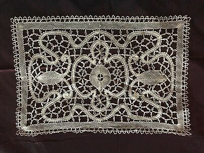 "Beautiful Hanmade VICTORIAN DOILY LACE GUIPURE LINEN thread & LACET 16"" by 10.5"""